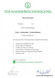 Teilnahmebescheinigung Licht-Lichttechnik-Lichtarchitektur