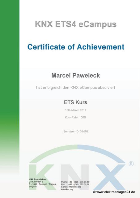 KNX ETS4 eCampus certification