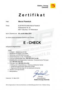 Zertifikat E-CHECK